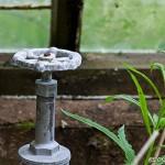 Kran i övergivet växthus